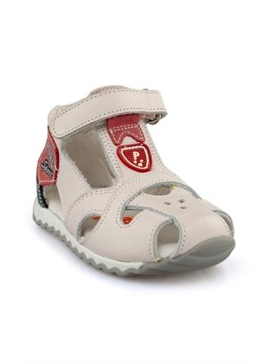 Cici Bebe Ayakkabı Cicibebe Deri Kiremit Amblemli Cırtcırtlı  Erkek Çocuk Sandalet Bej